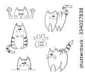 set of doodle cute cats  hand... | Shutterstock .eps vector #334027838