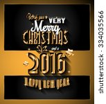 2016 happy new year and merry... | Shutterstock .eps vector #334035566