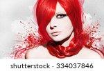 beautiful woman artwork   Shutterstock . vector #334037846