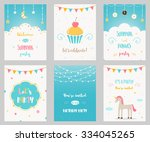 vector set of birthday and... | Shutterstock .eps vector #334045265