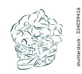 cute vector party cupcake on a... | Shutterstock . vector #334059416