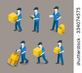 flat 3d isometric delivery man... | Shutterstock .eps vector #334074575