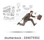 businessman running fast with... | Shutterstock . vector #334075502