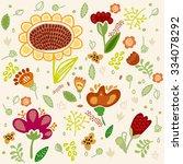 vector flower set with...   Shutterstock .eps vector #334078292