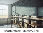 vintage college classroom with... | Shutterstock . vector #334097678