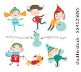 winter holidays. vector set.... | Shutterstock .eps vector #334125092