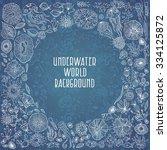 underwater life with jellyfish  ... | Shutterstock .eps vector #334125872