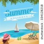beach scene   summer holidays... | Shutterstock .eps vector #334128218