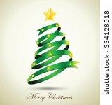 green ribbon christmas tree... | Shutterstock .eps vector #334128518