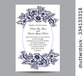 invitation with floral... | Shutterstock . vector #334133318