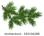 fur tree branch. green fluffy... | Shutterstock .eps vector #334136288