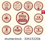 christmas labels  stickers ... | Shutterstock .eps vector #334152206