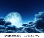 magic moon in the night sky.... | Shutterstock . vector #334163792