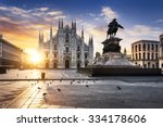 duomo at sunrise  milan  europe. | Shutterstock . vector #334178606