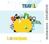 suitcase concept of leisure... | Shutterstock .eps vector #334180142