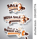 set of sale megaphone design... | Shutterstock .eps vector #334185776