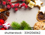 christmas decoration on wooden... | Shutterstock . vector #334206062