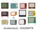 retro tv vector icons set