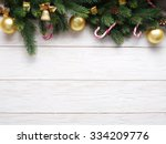 christmas decoration with fur... | Shutterstock . vector #334209776