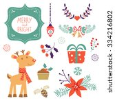 colorful christmas collection... | Shutterstock .eps vector #334216802