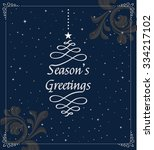 christmas card in retro style... | Shutterstock .eps vector #334217102