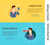 doodle thin line marketing man... | Shutterstock .eps vector #334219568