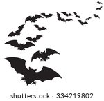 flock of bats  | Shutterstock .eps vector #334219802