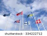 nordic flags in the sky  | Shutterstock . vector #334222712