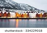 bryggen street with wooden... | Shutterstock . vector #334229018