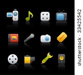 multimedia icon set in black....   Shutterstock .eps vector #33425542