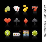 casino icon set in black.... | Shutterstock .eps vector #33425569