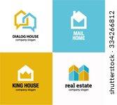Stock vector home house real estate idea logo vector logo template 334266812