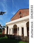 View of beautiful Chiaravalle abbey in Milan, Italy - stock photo