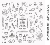 hand drawn cosmetics products.... | Shutterstock .eps vector #334293728