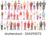 group multiethnic diverse mixed ... | Shutterstock . vector #334295072