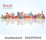 brazil famous monuments skyline.... | Shutterstock .eps vector #334295342