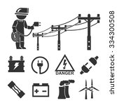 electrician icon set | Shutterstock .eps vector #334300508