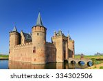 the muiderslot with moat in...