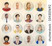 portrait diverse multiethnic... | Shutterstock . vector #334305692