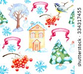 watercolor christmas and new... | Shutterstock . vector #334317455