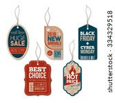 vintage tags set with string ... | Shutterstock .eps vector #334329518