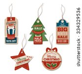 vintage christmas tags set with ... | Shutterstock .eps vector #334329536