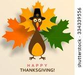 happy thanksgiving turkey   Shutterstock .eps vector #334339556
