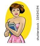 vector illustration of a pretty ... | Shutterstock .eps vector #33434194
