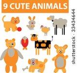 9 cute animals set. vector | Shutterstock .eps vector #33434644