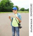 teenager boy tourist... | Shutterstock . vector #334350182