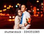 elegant dresses man is tenderly ... | Shutterstock . vector #334351085