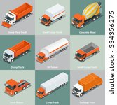 cargo truck set icons.  flat 3d ... | Shutterstock .eps vector #334356275