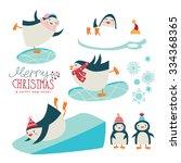 set of cute cartoon penguins ... | Shutterstock .eps vector #334368365