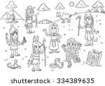 illustration of egypt child... | Shutterstock .eps vector #334389635